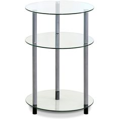 Furinno Kaca Clear Glass Three-Tier Side Table ($37) ❤ liked on Polyvore featuring home, furniture, tables, accent tables, lightweight furniture, clear glass table, 3 tier table, 3 shelf and three tier table