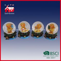 Promotional Gifts Water Globe Christmas Tree Base Cute Little Lion