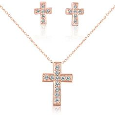 Cross Necklace for Girls First Communion - Rose Gold Necklace and Earrings Jewelry Set for Teens in Box SmitCo LLC http://www.amazon.com/dp/B00WV0GRAO/ref=cm_sw_r_pi_dp_zYCBvb0YZQGTY