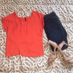 Bright Spring Orange Top w/ Open Back SALE Only worn once!! *Not Urban, just tagged for exposure! Really cute orange top with an open slit back. Perfect bright color for spring and summer! Size S! Smoke free and pet free home! Make me an offer!                                           ⭐️⭐FINAL SALE PRICE: discounted from $15 to $8, originally $20 and only worn once Urban Outfitters Tops