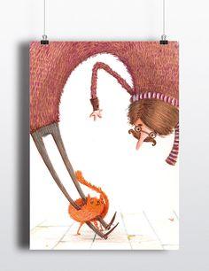 Poster Happy Ginger Cat by Housecatillustration on Etsy