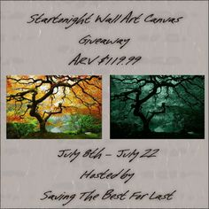 Enter To Win a STARTONIGHT WALL ART CANVAS – MAPLE TREE – ARV $119.99 Hosted By: Saving The Best For Last The giveaway will end 7/22/2016 (11:59 pm) EST Open to U.S only Startonight produces over 600 different pieces of art ranging from canvases to wall murals, featuring every type of subject matter you can …