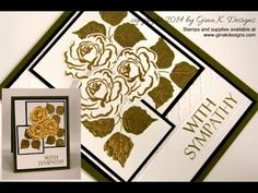 Measurements: Fresh Asparagus card base- 4 X 11 , scored at 5 and fold in half Black Onyx Layer- 3 X 5 White Layer- 3 X 5 Whit… Card Making Templates, Card Making Tutorials, Stamp Tv, Monochrome, Embossing Techniques, Embossed Cards, Copics, Sympathy Cards, Flower Frame
