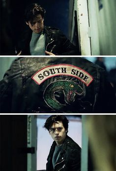 Cole Sprouse/Jughead Jones as a South Side Serpent in Riverdale. HOT!