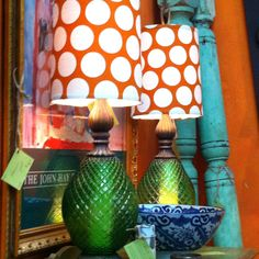 Vintage lamps with modern orange polka dot shades. Fabulous Finds, Little Rock,AR