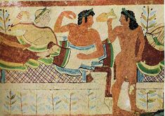 "Banquet scene, Tomb of the Leopards, Tarquinia, ~470 B.C. Note what appears to be a ""Tartan"" fabric on the couch. Part of the banquet appears to have involved a ritual drink (probably wine) which may have been like mead or Hindu Soma."