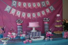 Crystal U's Birthday / Preppy Nautical Birthday Party - Photo Gallery at Catch My Party Nautical Birthday Girls, Anchor Birthday Parties, Nautical Party, Birthday Party Themes, Anchor Party, Birthday Ideas, Kylie Birthday, Baby First Birthday, First Birthday Parties
