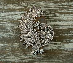 Huge Peacock Stamp, Hand Carved Wood Indian Printing Block, Bird Animal Motif, by DelhiDaze, $32.00