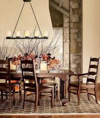 dining room in rustic style wooden furniture statement lighting