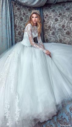galia lahav bridal spring 2017 long sleeves high neck ball gown wedding dresses (corina) zv