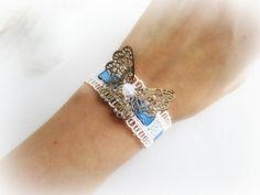 Ivory lace bracelet gold butterfly bracelet by MalinaCapricciosa