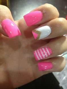 Pink and Gold, White Stripped Nails