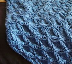 An interesting cabling technique creates a gorgeous throw with a diamond pattern. Gauge is not essential to this pattern. Afghan Patterns, Baby Knitting Patterns, Knitting Stitches, Baby Patterns, Free Knitting, Stitch Patterns, Knitted Afghans, Knitted Blankets, Baby Afghans