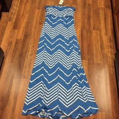 New with Tags Blue Chevron Maxi Strapless Dress Never got around to wearing this.  Purchased from upscale local boutique.  Soft tshirt like material.  Super Comfy! Boutique Dresses Maxi