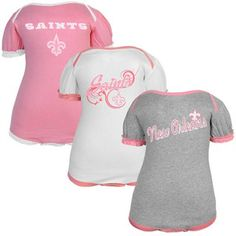 New Orleans Saints Newborn Girls 3-Pack Pretty in Pink Creepers-  Pink Ash White. Steelers Onesie ... 5d565ec8e