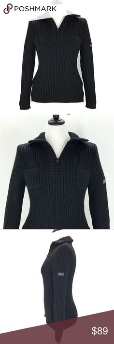 """GIORGIO ARMANI NEVE Ski Sweater Ribbed Pop Over GIORGIO ARMANI NEVE Ski Sweater Size 42 US Medium  Discontinued and RARE Armani Line of Ski Apparel Italy 42 US Medium (See Measurements. Mannequin is a size 8) Very good preowned condition with normal signs of light use. Some fading on arm patch. No stains, holes or heavy wear.  APPROXIMATE MEASUREMENTS with the Garment laying Flat: CHEST pit to pit:16"""" SHOULDER TO SHOULDER: 14"""" SLEEVE LENGTH Shoulder seam to cuff: 25"""" WAIST: 15"""" HIPS: 16""""…"""
