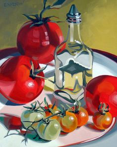 """ Olive Oil and Tomato (by Leigh-Anne Eagerton, painting) "" Art Aquarelle, Watercolor Art, Academic Drawing, Still Life Artists, Still Life Fruit, Fruit Painting, Painting Still Life, Fruit Art, Arte Floral"