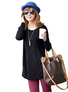 e56543882 Women Sweater Round Neck Long Sleeve Knitted Pullover Jumper Loose Black    Click for more Special