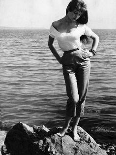 Brigitte Bardot French Actress Standing on Rocks on Sea Shoreline, May 1955