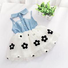 100% Brand New and high quality Material: Denim& Tulle Weight: 96-125g(approx) Size: Fit for 2-7Y baby girls Note: The Age is just for reference ,pls check the specific Length and Chest! Thanks! Size