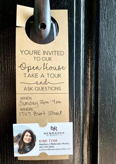 You're invited to our Open House Door Hanger Tags for Real Estate Agents Real Estate Career, Selling Real Estate, Real Estate Tips, Real Estate Investing, Real Estate Business Cards, Lead Generation, Inmobiliaria Ideas, Real Estate Quotes, Home Selling Tips