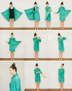 Looks so comfy!-HOW TO WEAR THE WRAPPED CARDIGAN The Wrapped Cardigan is easy to transform, but (honestly) it took me a few tries to get the smoothness and drape that I wanted. Fashion Sewing, Diy Fashion, Ideias Fashion, Fashion Tips, Convertible Clothing, Convertible Dress, Diy Vetement, Dress Tutorials, Clothing Hacks