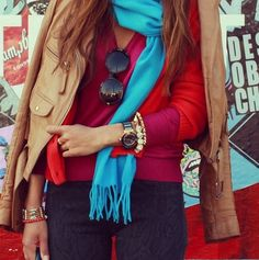 layers:  red, fuchsia, turquoise, camel, gold.