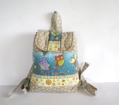Kid backpack Handmade quilted  patchwork backpack with by Crearts, $40.00