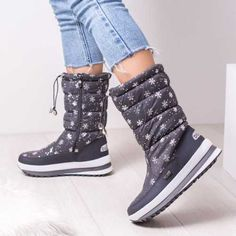 Cizme de zapada dama gri Fedilio High Tops, High Top Sneakers, Wedges, Boots, Winter, Casual, Fashion, Crotch Boots, Winter Time