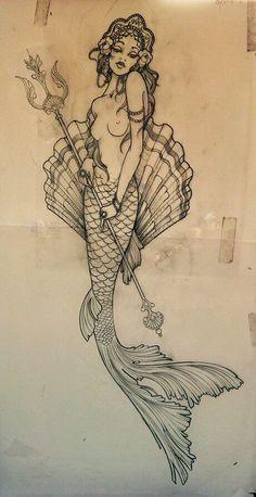 Mermaid tattoo sketch. Nikki Andrews Farino