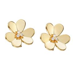 Van Cleef & Arpels Diamond Gold Frivole Earclips | From a unique collection of vintage clip-on earrings at https://www.1stdibs.com/jewelry/earrings/clip-on-earrings/