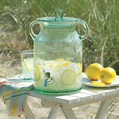Beat the summer heat ~ set up a hydration station for your guests as they walk into the reception ~ 21 beverage dispensers that'll make your hydration station look like wedding art Bottles And Jars, Glass Jars, Mason Jars, Glass Beverage Dispenser, Juice Dispenser, Cocktails, Vintage Jars, Vintage China, Offbeat Bride