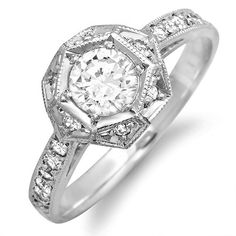 10kt White Gold Art Deco Style Diamond by MasterPieceJewelers, $899.00
