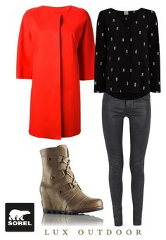 """""""SORELstyle Joan of Arctic Wedge Mid"""" by sorelfootwear ❤ liked on Polyvore featuring SOREL, Paige Denim, Herno and Des Petits Hauts"""