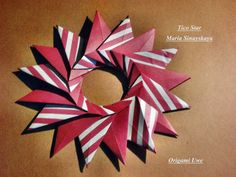Origami Wreath, Origami And Quilling, Origami Stars, Origami Paper, Oragami, Paper Snowflakes, Paper Stars, Christmas Star, Christmas Crafts