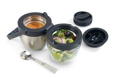 Thermos Food Jar. This dual compartment container is perfect of hot and cold items like soup and salad or chili and chips. Each compartment has locking stopper to keep your food locked in. Pop the latch and unfold the hinge and dig in.