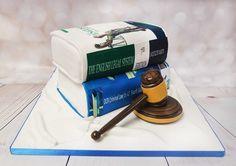 Very large book cake, with gavel model, that is a lot of cake!  #lawcake #judgecake #studyingcake  https://www.craftycakes.com/