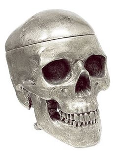 Silver Human Skull Shaped Trinket Box ~ Plasticland