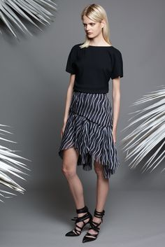 Jay Ahr | Resort 2015 | 09 Black short sleeve top and monochrome printed mini skirt with asymmetrical hem