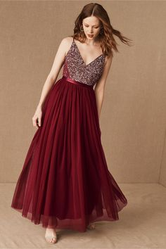 Featuring a deep v-neck and matching back, this sleeveless dress pairs a sequin-covered bodice with a frothy tulle skirt. A grosgrain ribbon defines the waist.Only available at BHLDN Bhldn Wedding Dress, Simple Wedding Gowns, Sheath Wedding Gown, Bridal Gowns, Wedding Dresses, Red Wedding, Wedding Colors, Prom Dresses, Formal Dresses