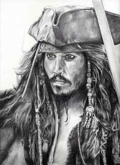 "Print of Johnny Depp as Jack Sparrow from ""Pirates of the Caribbean"" Drawing Sketches, Pencil Drawings, Art Drawings, Drawing Drawing, Drawing Ideas, Jack Sparrow Drawing, Éphémères Vintage, Portrait Au Crayon, Bristol Board"