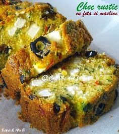 Bread Rustica with Feta and Olives - translates from Romanian. Note: pescat is listed in ingredients, but it's called red pepper in the directions. Finger Food Appetizers, Finger Foods, Appetizer Recipes, My Recipes, Cooking Recipes, Favorite Recipes, Vegetable Recipes, Vegetarian Recipes, Baking Bad