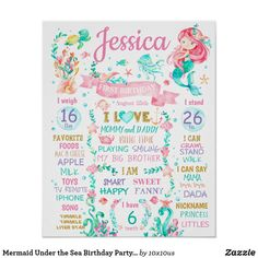 Mermaid Under the Sea Birthday Party sign poster ******** You can change wording colors and sizes. Just click CUSTOMIZE and you will see a different settings. 85th Birthday, Birthday Board, 1st Birthday Parties, Mermaid Sign, Mermaid Poster, Mermaid Party Invitations, Mermaid Under The Sea, Personalized Posters, Birthday Chalkboard