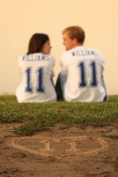 """Our engagement photo! Williams 11-11-11 """"We should get jerseys, cause we make a good team..."""""""