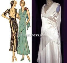 1932 Ladies' Tea or Street Frock. Hope to use this pattern to make my Mother of the Groom dress out of seafoam green silk crepe from Fabric Mart.