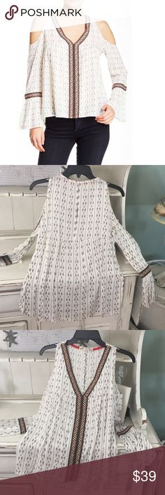 Open Shoulder long Sleeve Top Crochet appliqué trims this pretty open shoulder top by Jolt, keyhole back, all-over print, 100% Rayon Jolt Tops Blouses