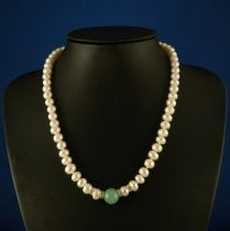 Beautiful combination of White Pearl and Geen Jade Bead Necklace