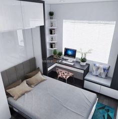 Home decored modern bedroom sleep 33 Ideas for 2019 Tiny Bedroom Design, Small Room Design, Bedroom Furniture Design, Home Room Design, Home Office Design, Bed Design, Home Interior Design, Room Ideas Bedroom, Small Room Bedroom