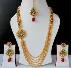 Ethnic Indian Jewelry Bollywood Polki Long Necklace Earrings Tikka Royal.JPG (1600×1537)