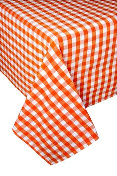 Orange - Block Check Tablecloth